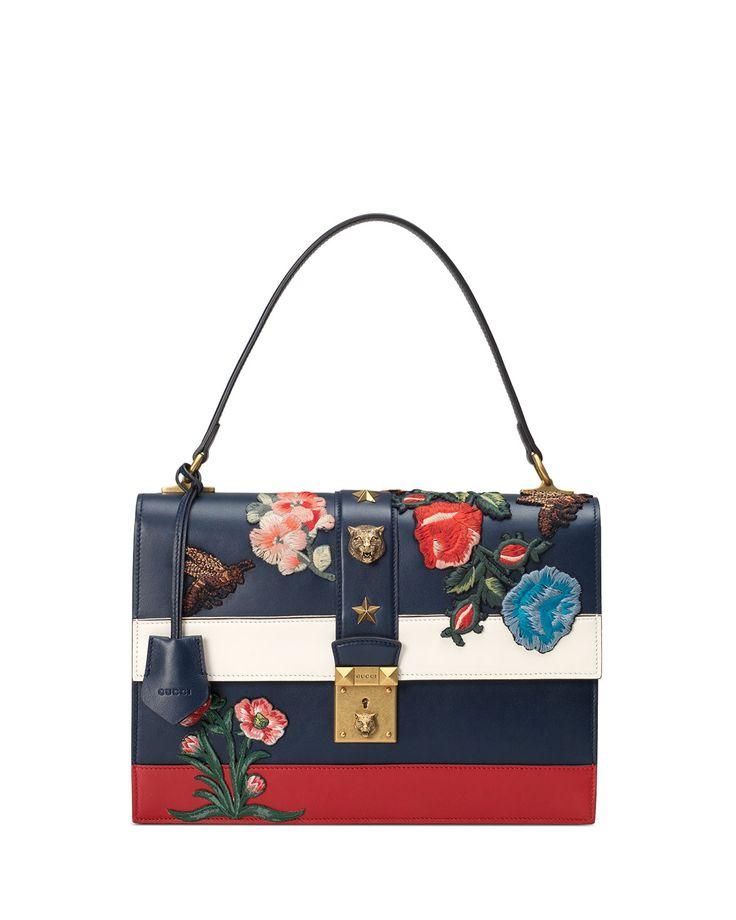 Gucci Embroidered Riche Stripe Shoulder Bag, Blue/Red
