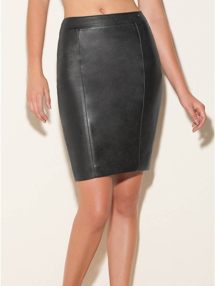 GUESS Faux-Leather Pencil Skirt, JET BLACK (6)