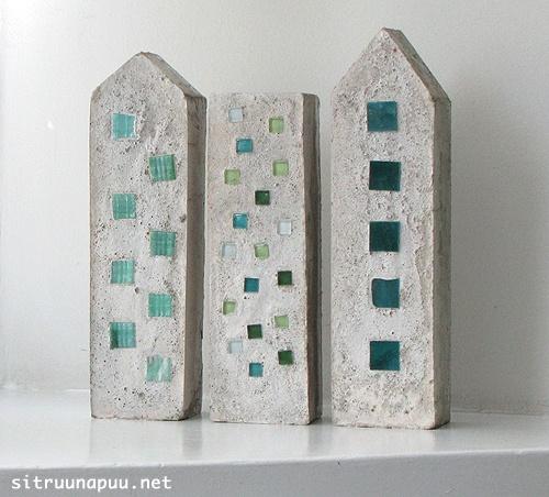 mosaic concrete miniature houses