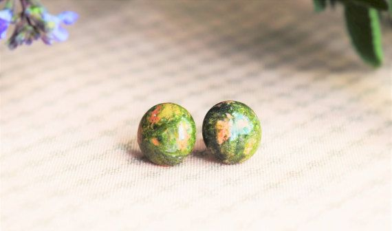 Vintage and Natural look earrings made with an 12mm Unakite natural Stone. Handmade. Stainless Steel Stud. Hypoallergenic.  ...................