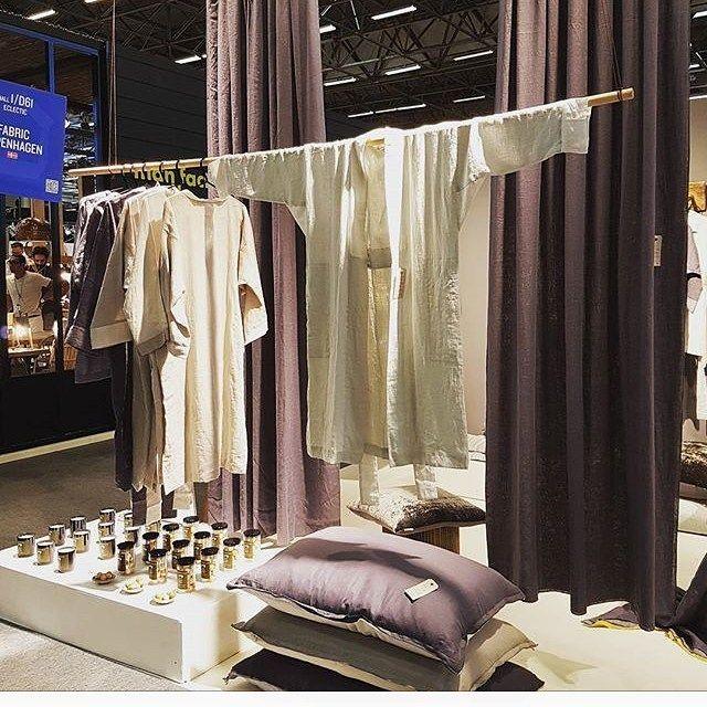 Fabric Copenhagen linen kimono. Maison&obejet #fabriccopenhagen #リネン #着物 #和服 #麻布
