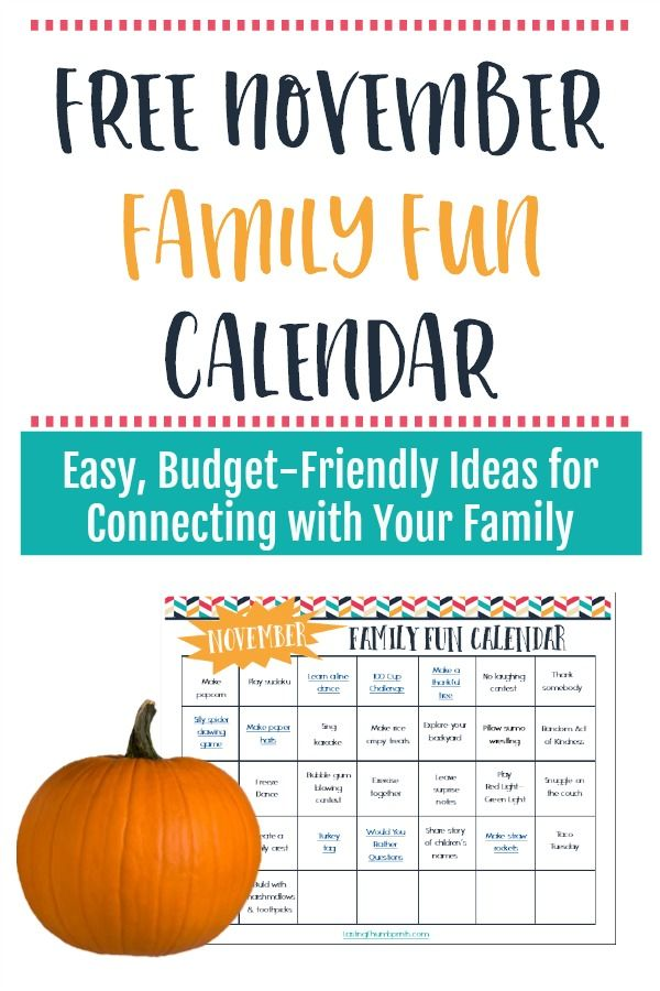 Make this November memorable with this free family fun calendar! Each day has an easy, affordable idea for connecting with your family.