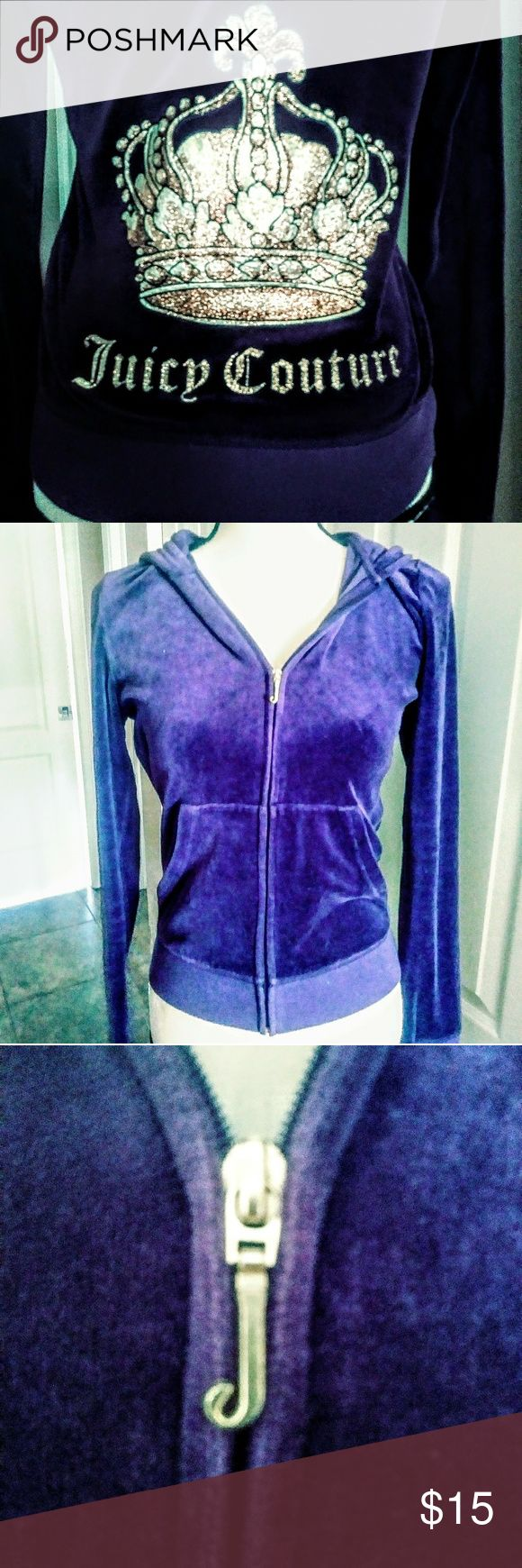 Juicy Couture Purple Zip up Hoodie Sweatswirt Sz M Juicy Couture Purple Zip up Hooded Sweatshirt. In excellent pre-owned condition! Juicy Couture Tops Sweatshirts & Hoodies