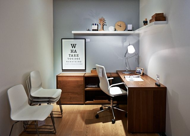 BoConcept Lecco desk, Floating shelf, Ferrara office chair, and Breda chairs