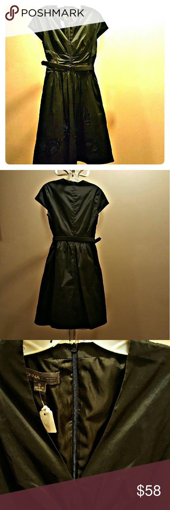 Donna Riccio Black Cocktail Dress Donna Riccio Black Cocktail Dress with black sparkle embellishments...looks stunning on Donna Ricco Dresses
