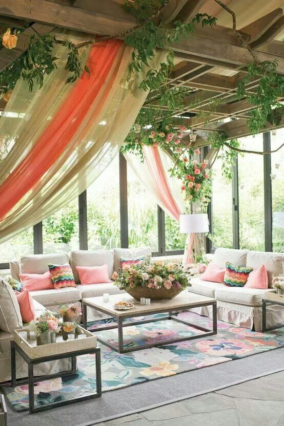 Terrasse roses et fleurs