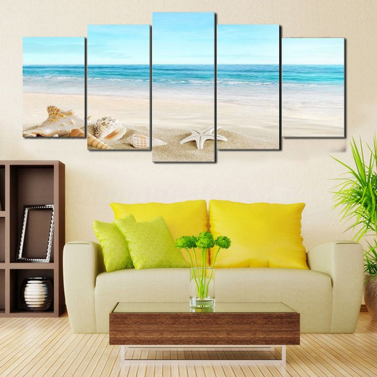 5Pcs Framed Sea Beach Canvas Painting Landscape Art Pictures Wall Home Decor