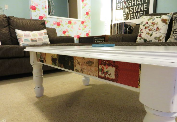 Recycled coffee table with decorative border at www.roseandsunday.co.nz