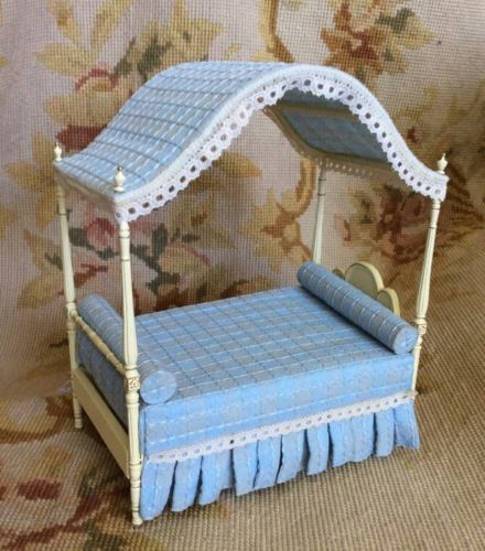 "Bespaq Handcrafted Artist Made Cream with blue fabric Canopy Bed measures approximately 4"" Wide, 8"" High, 6 1/2"" Deep - Scale: 1 inch equals 1 foot"