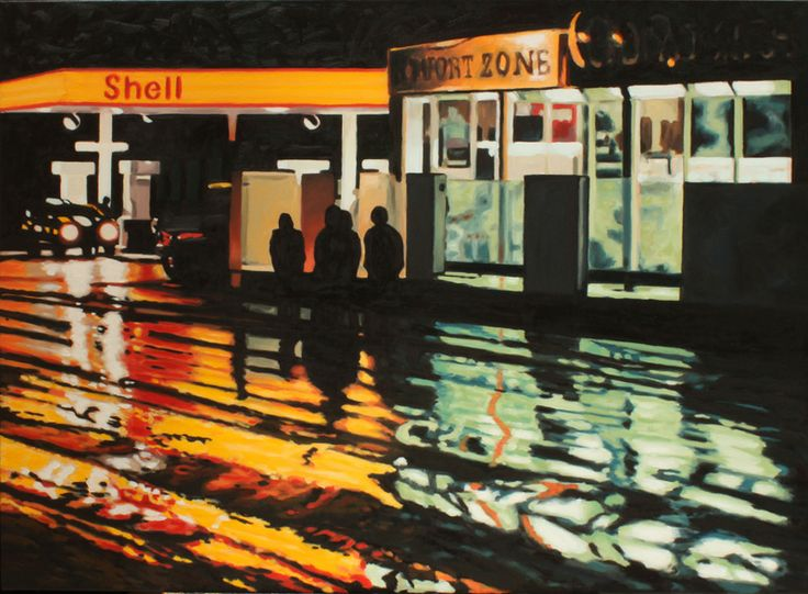 """Comfort Zone - oil on canvas, 30 x 40"""" (75 x 100 cm) - rainy street at the gas station in Lindsay, Ontario"""