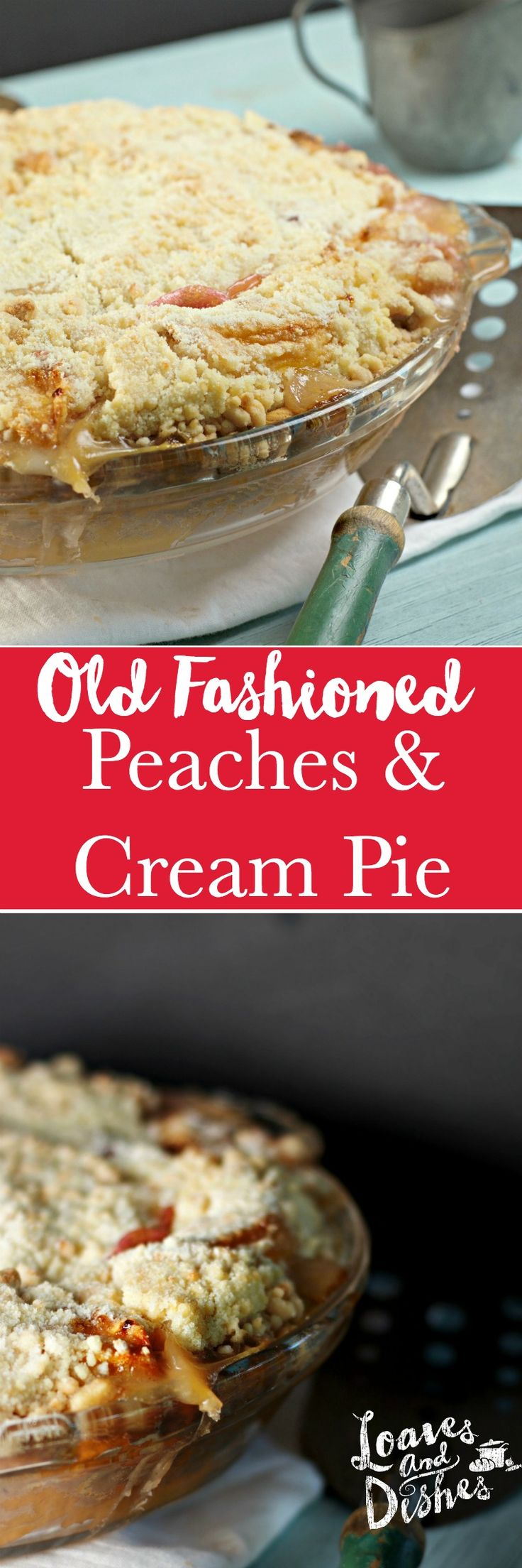 Old Fashioned Peaches and Cream Pie uses fresh peaches (only 5 or 6) and simple ingredients you probably have around the house.  EASY AS PIE!  Delicious like your grandmother made!  The perfect recipe for a get together or just for your family!  Great Taste!
