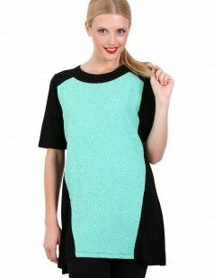 Black and green 3/4 sleeve tunic - Black & Green