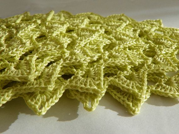 Crocheted coaster doily light green by WoolCharm on Etsy, $1.49