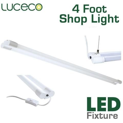 Luceco 4 Foot LED Hanging Shop Light allows you to easily bring bright and efficient LED light to your work area. Utilizing two integrated tubular LED bulbs, the fixture emits 3600 lumens. This easily replaces up to an 80 Watt traditional fluorescent shop light while consuming just a fraction, 36 Watts, of electricity. Everything you need is included, hanging kit and integrated switch. Upgrade your shop or work space with our LED shop lights for sale and experience clean, efficient, LED…