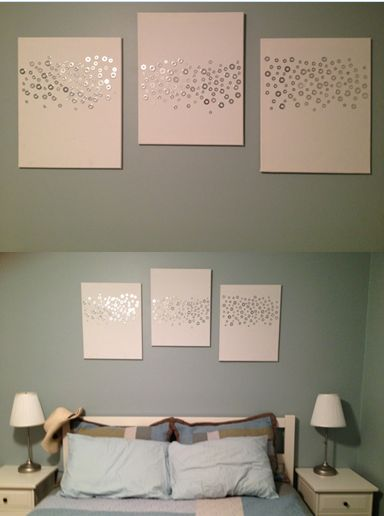 Love this!!!    Easy art! Washers, hot glue, and canvas. I could do some version of this with buttons.