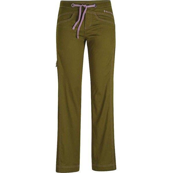 Black Diamond Women's Credo Pant featuring polyvore, women's fashion, clothing, pants, sage, zip pants, zipper trousers, zipper pants, drawstring waist pants and brown trousers