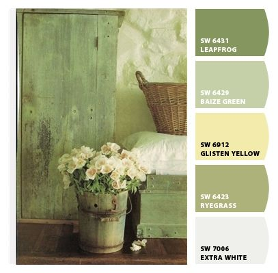 farmhouse green:  Colors for the guest room with Grandma's quilt