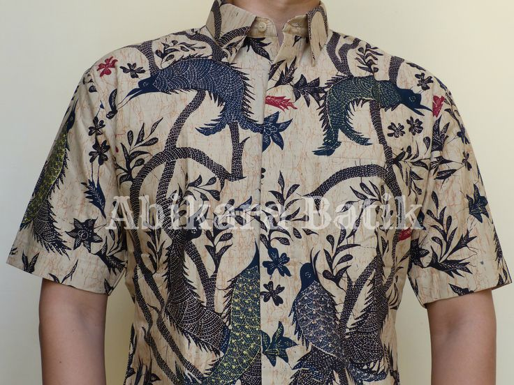 Birds Floral Men's Batik Shirt