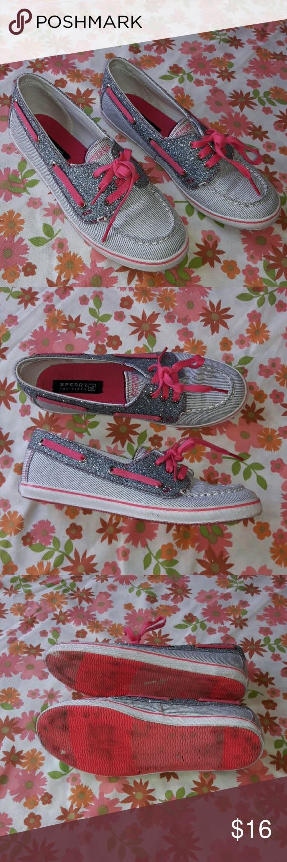 Women's Sperry Top-sider size 5 Adorable women's Sperry Top-sider in a size 5. These are a thin blue and white striped canvas with contrasting blue glitter and pink detailing such as laces and a pink stripe around the sole. They are in good used condition with no stains or tears. The soles show very little wear to the traction. Please ask any questions as all sales are final. From a smoke free home. Sperry Top-Sider Shoes