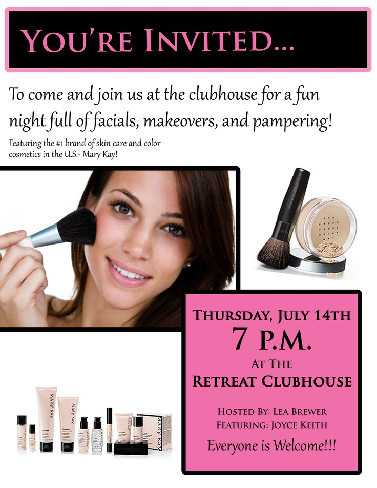 Mary Kay party poster...something to reference to for future Mary Kay parties