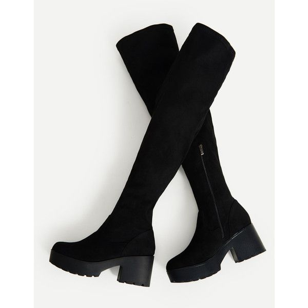 Side Zipper Over Knee Platform Boots ❤ liked on Polyvore featuring shoes, boots, above-knee boots, side zip boots, over-the-knee boots, above the knee boots and over-knee boots