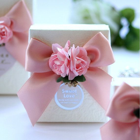DIY Party Paper Favor Box , Wedding Favor Candy Box , Candy Box with Ribbons and Flowers