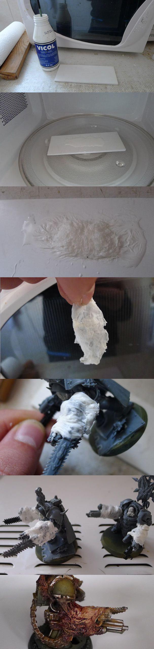 Nurgle Daemonic Skin: microwave white glue for 30 sec then super glue to mini.