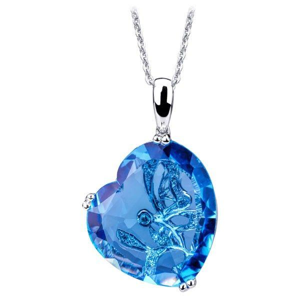 Colier diamante si topaz albastru DNGV00072 ‐ Bijuteria Teilor
