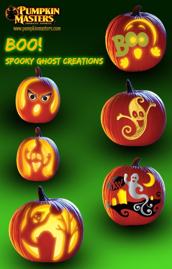 "Boo!  Spooky Ghost Creations from Pumpkin Master's carving kits. From top: ""Boo"" from Kids Glow in the Dark Carving Kit, ""Spooks"" from Kids Pumpkin Carving Kit, ""Free Spirit"" from Surface Carving Kit, ""Groaning Ghost"" from Carving Party Kit, ""Ghost"" from Paint & Carve Kit, and ""BOO-gie Nights"" from Carving Party Kit."