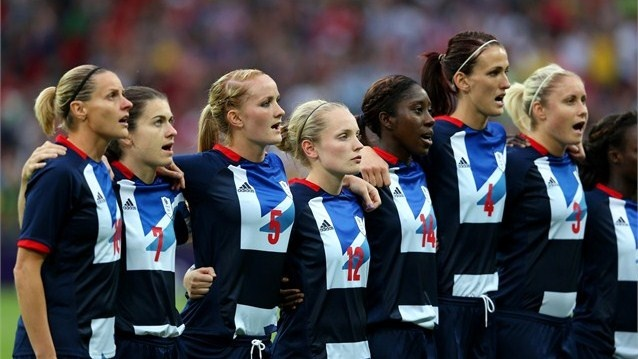 Team GB players sing the national anthem before their women's Football first roundmatch against Brazil on Day 4 at Wembley Stadium. Great Britain went on to win the match 1-0.