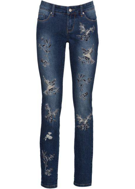 030af62cd40 Джинсы Skinny с вышивкой синий - RAINBOW заказать онлайн - bonprix.ru
