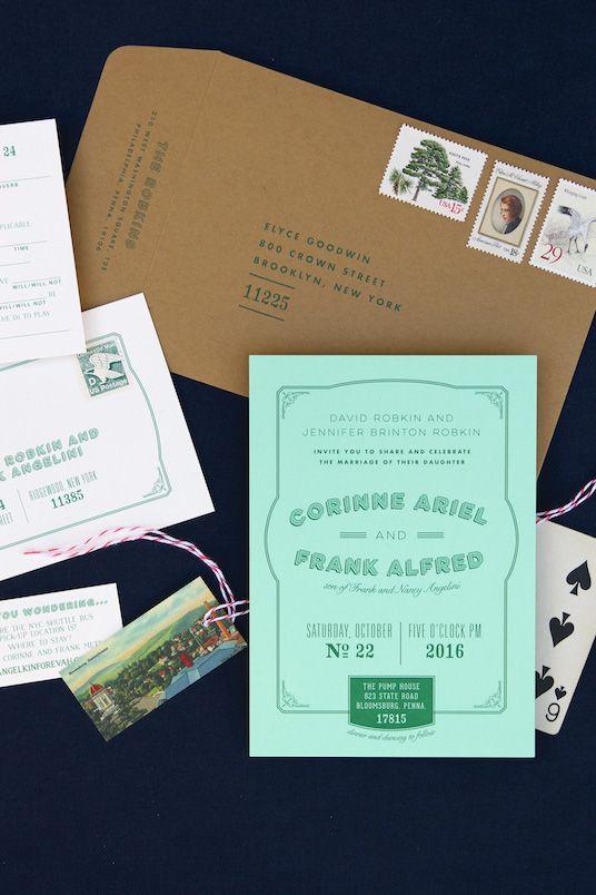 Vintage ephemera, industrial barn wedding invitation; mint green paper and emerald ink with vintage linen postcard  |  Anticipate Invitations