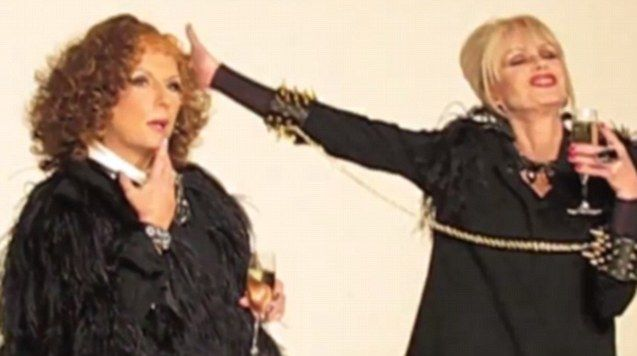 Stars of tv series Ab Fab, Joanna Lumley and Julia Sawalha, for jewellery line Alexis Bittar.