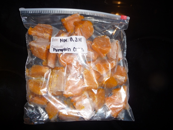 Frozen Pumpkin Cubes...bake pumpkin until soft, let cool, scoop into an ice cube tray, freeze, pop out and place in a ziploc in the freezer.  Use in baked goods, oatmeal, and whatever else you would like!
