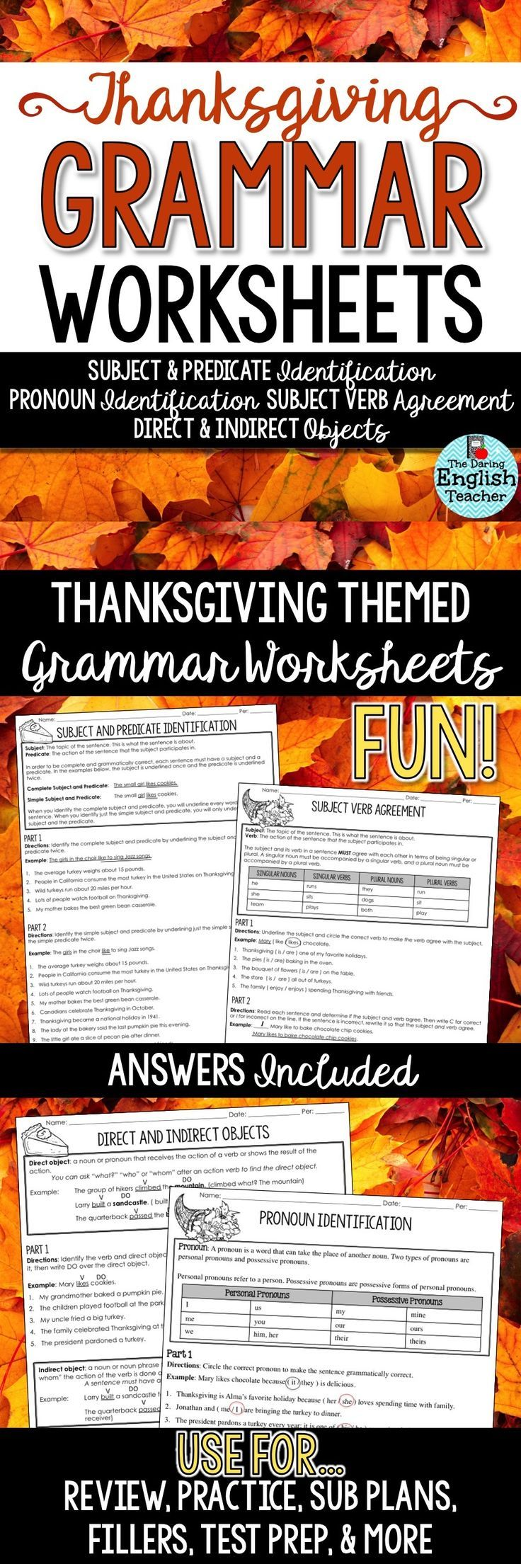 Help students improve their grammar skills with Thanksgiving grammar worksheets for the secondary ELA classroom.