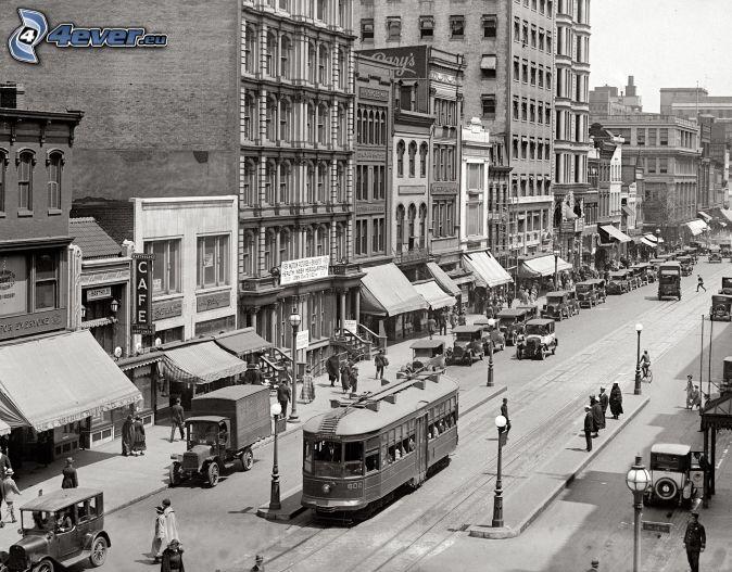 New York, altes Foto, Straßenbahn