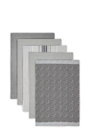 Delightful Set Of 5 Grey Geo Design Tea Towels