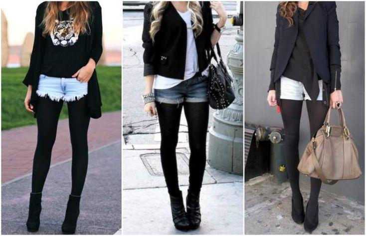 shorts jeans com meia calça