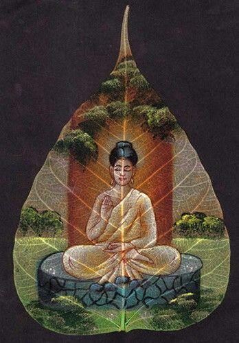 Buddha Painting on peepal leaf