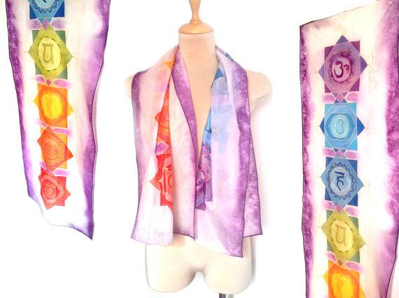 Chakra silk scarf with Chakra symbols and colors. Scarf or wall decor.  Hand painted silk scarf with the 7 chakra symbols and with the chakras colors.