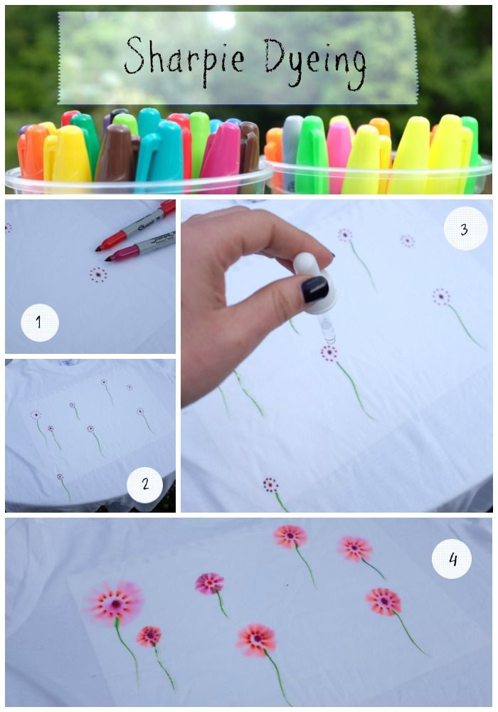 Sharpie Dyeing Step by Step on www.squidgyboo.com #sharpie #sharpiedyeing #crafting