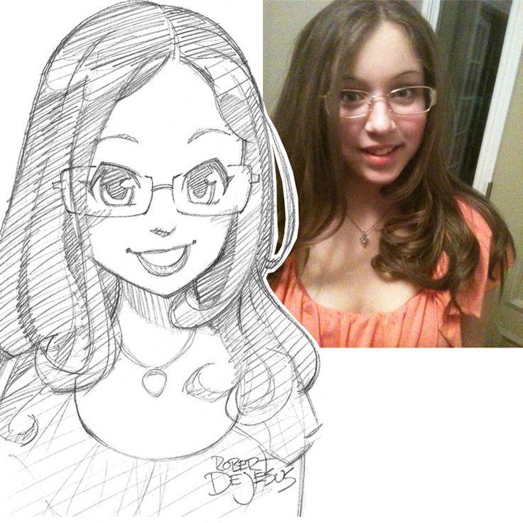 Un illustrateur s'amuse à dessiner le portrait des gens version manga
