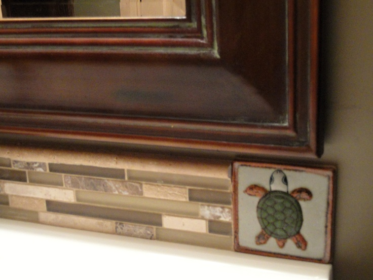 Bathroom Sink Backsplash With Turtle Mexican Tile On The End
