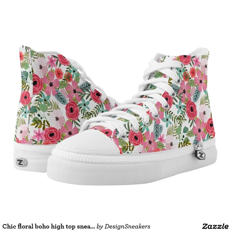 Chic floral boho high top sneakers printed shoes. Floral sneakers, floral shoes. Boho sneakers, boho shoes.