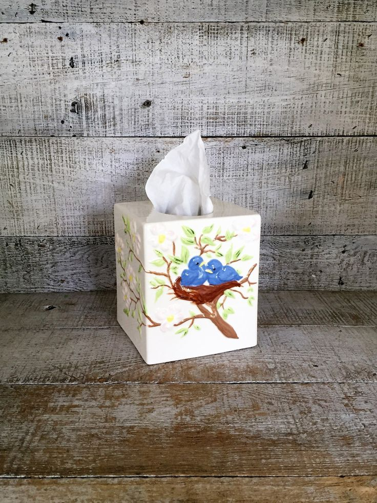 Tissue Box Cover Ceramic Tissue Box Holder Bird Tissue Box Cover Cotttage Chic Tissue Box Holder Rustic Bathroom Decor Farmhouse Chic by TheDustyOldShack on Etsy