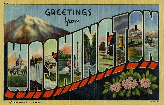 great retro washington state postcard - one of the most beautiful places i've ever been (and i'm sorta proud to call it my home)