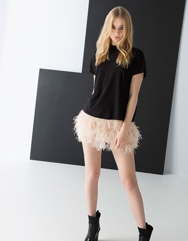 Bershka Israel -Bershka feathers skirt