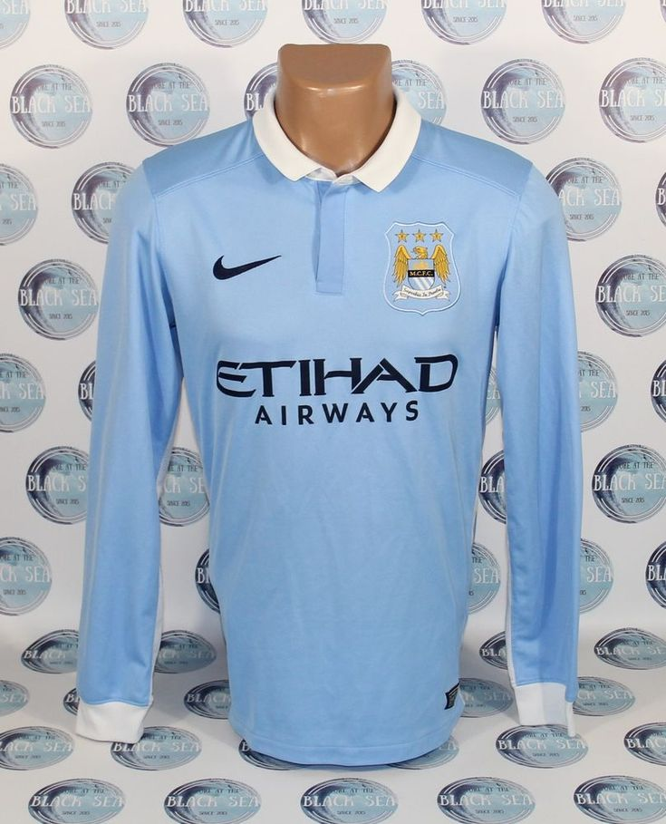 MANCHESTER CITY 2015 2016 HOME FOOTBALL SOCCER SHIRT JERSEY TRIKOT LONG SLEEVE S #Nike #ManchesterCity