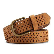 2016 nové módní Belt Women Pattern Hollow Buckle Thin Skin široký pás cummerbund Dámské šaty popruh Belt Brown pas Luxury (Čína (pevninská část))
