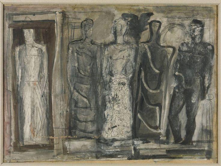 'Five Figures' c.1936 by Mario Sironi (Italian 1885-1961)